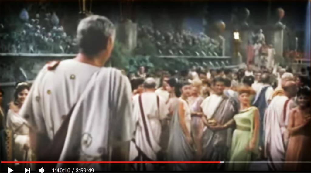 Ben Hur, la scenda del banchetto. Sullo sfondo le cento fontane di Villa d'este
