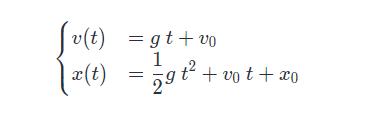equazione moto di caduta libera