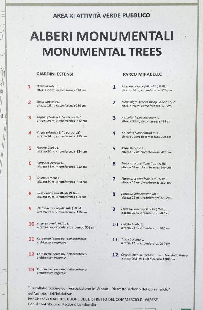 Alberi monumentali a Varese